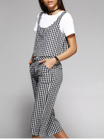 Chic Plaid Two Piece Top with Capri Pants