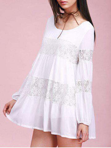 Fashion Lace Insert Mini Casual Swing Dress With Sleeves