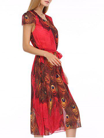 Cheap Bohemian Peacock Tail Print Women's Midi Dress