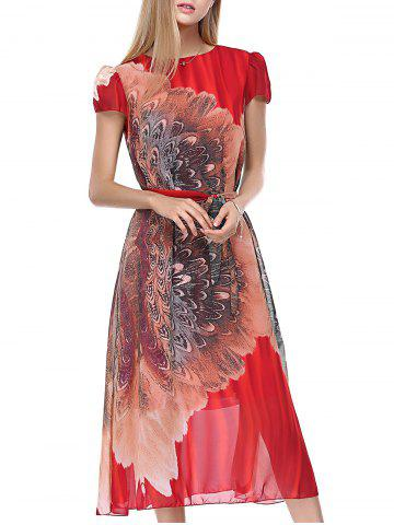 Puff Sleeve Tie Belt Tea Length Flowy Dress - Red - One Size(fit Size Xs To M)