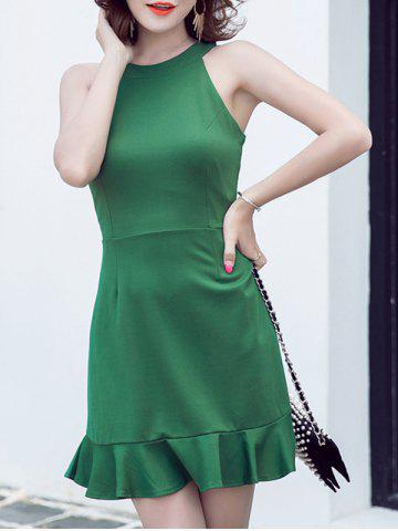 Best Refreshing Women's Round Neck Pure Color Sleeveless Fishtail Dress