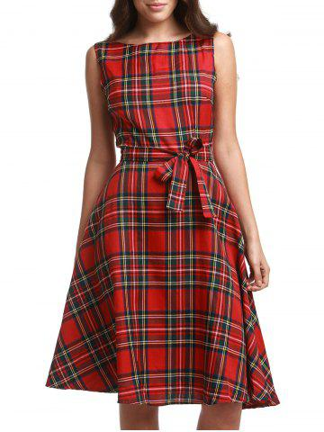 Affordable Retro Jewel Neck Sleeveless Plaid Belted A-Line Dress For Women