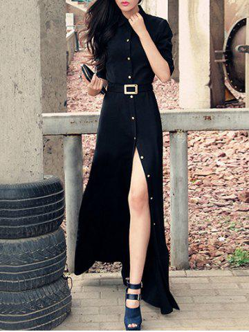 Unique Stylish Women's Black Shirt Collar High Split Buttoned Maxi Dress