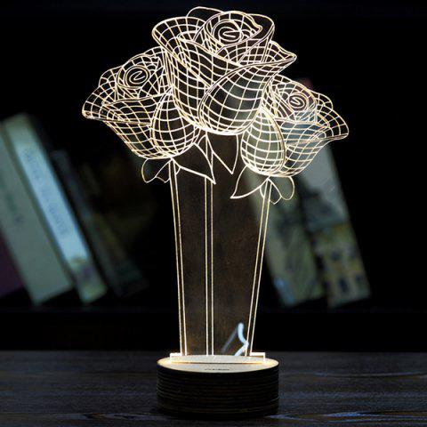 Creative Home Decoration Roses Shape LED Night Light - Light Yellow