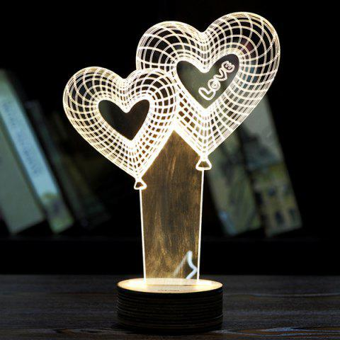 Creative Décoration Coeur Balloon design LED Night Light Jaunâtre