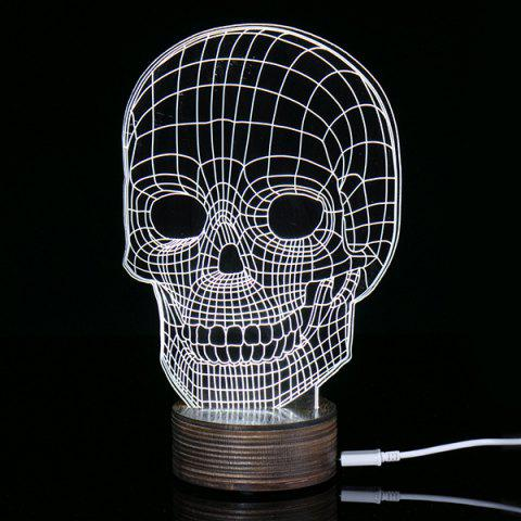Creative Home Decoration 3D Skull Shape LED Night Light - Warm White Light