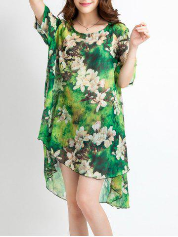 Best Brief Asymmetrical Floral Print Women's Dress