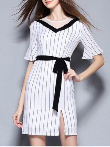 Outfit Elegant Women's Bell Sleeves Striped Mesh Patchwork Split Dress