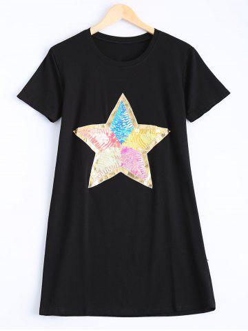 Cheap Stylish Round Neck Star Pattern Sequins Embellished Dress For Women
