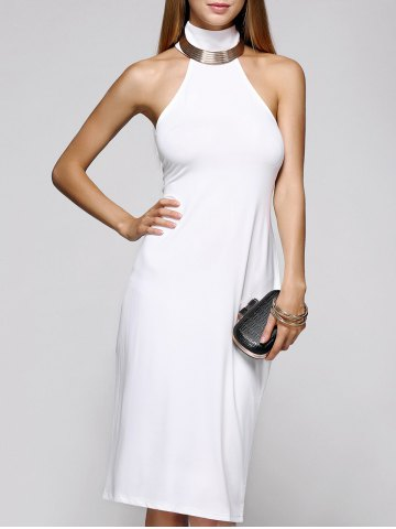 Online Open Back High Neck Sheath Dress