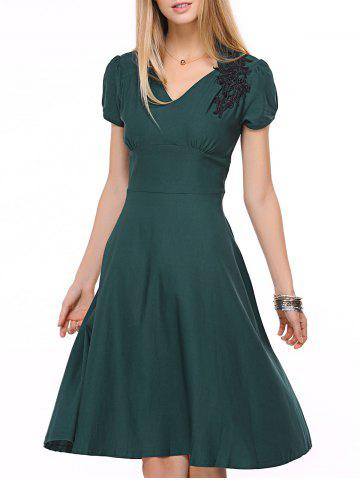 Fashion Vintage Swing High-Waist Embroidery Zippered Dress BLACKISH GREEN 2XL