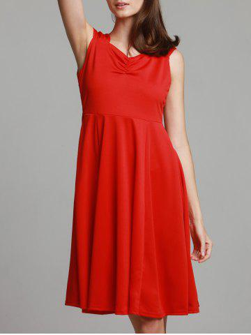 Fancy Retro Style Sweetheart Neck Solid Color Sleeveless Dress For Women