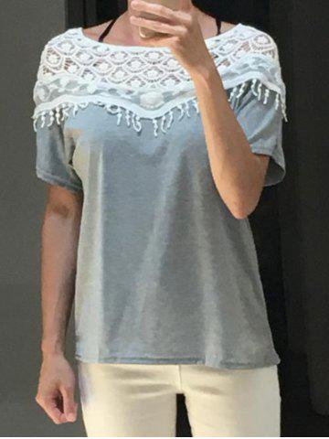Trendy Lace Cut Out Crochet Cape Collar Batwing Sleeve T-Shirt