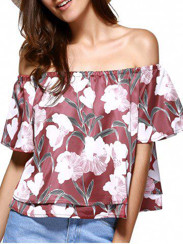 Outfit Off The Shoulder Floral Pattern Layered Blouse