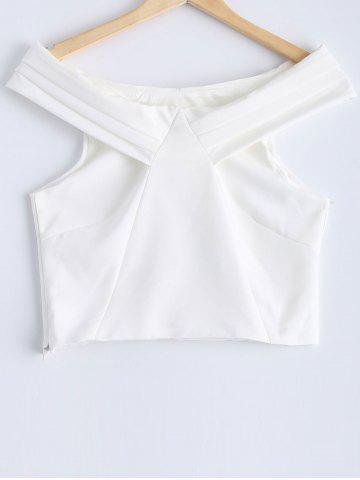 Sale Simple Solid Color Off-The-Shoulder Crop Top For Women