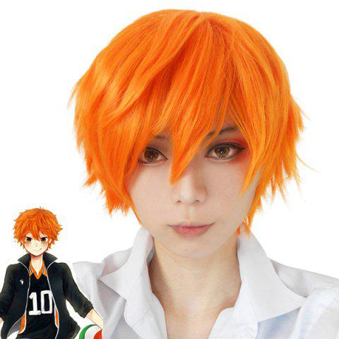 Latest Fashion Synthetic Haikyuu Volleyball Guys Hinata Shyouyou Orange Short Cosplay Wig YOLK YELLOW