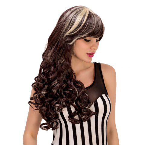 Attractive Blonde Highlight Synthetic Fluffy Wave Side Bang Wig For Women - Colormix
