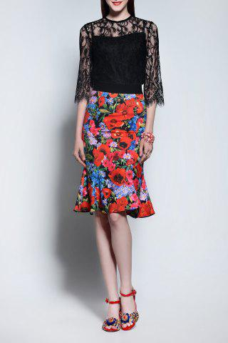 New Lace Blouse and Fishtail Skirt Twinset