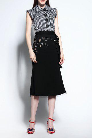 Outfit Houndstooth Blouse and High Waisted Skirt Twinset