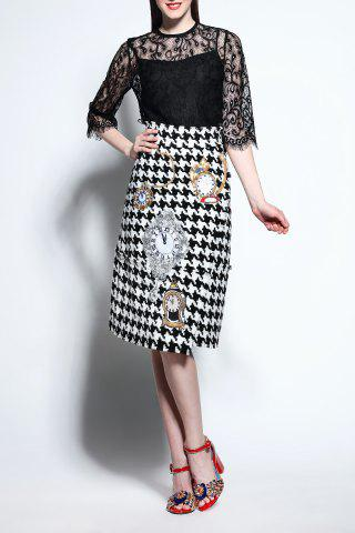 Outfits Lace Blouse and Houndstooth Skirt Twinset