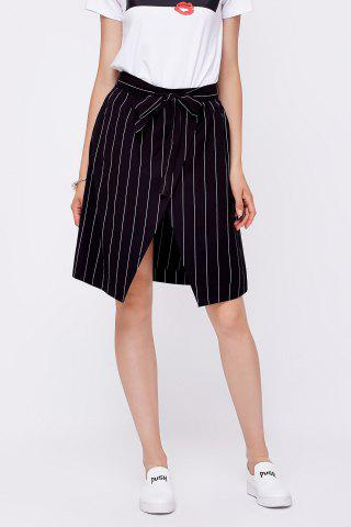 Cheap Striped Tie Front Slit Skirt