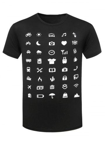 Shop Funny Icon Pattern Printing Round Neck Short Sleeves T-Shirt For Men