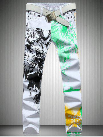 Sale White Color Printed Straight Leg Jeans For Men