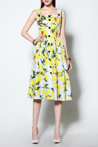 Online Strappy Lemon Print Dress