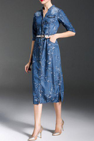 Online Floral Sheath Denim Dress