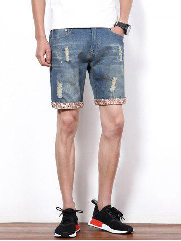 Chic Hole Design Straight Leg Cropped Shorts For Men