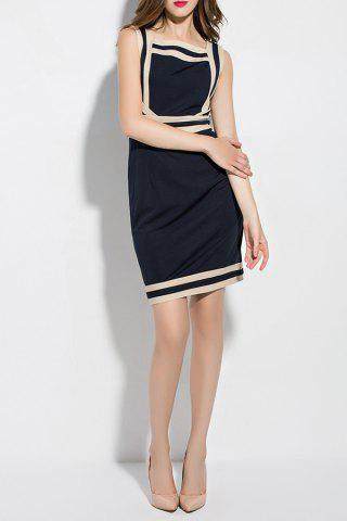 Outfits Square Collar Color Block Mini Dress
