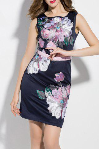 Chic Flower Embroidered Mini Belted Dress