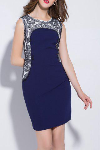 Unique Jewel Neck Embroidered Sheath Dress