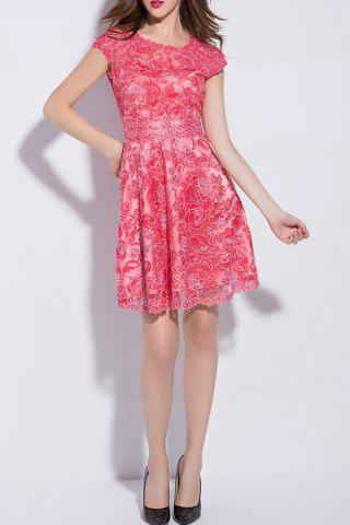 Buy Short Sleeve Mesh Embroidered A Line Dress
