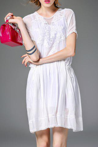 Best Belted Solid Color Embroidery Dress