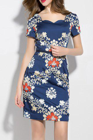 Unique Sweetheart Neck Flower Print Dress