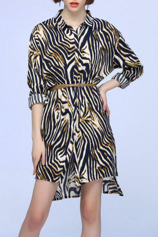 Shops Leopard Print Single Breasted Shirt Dress