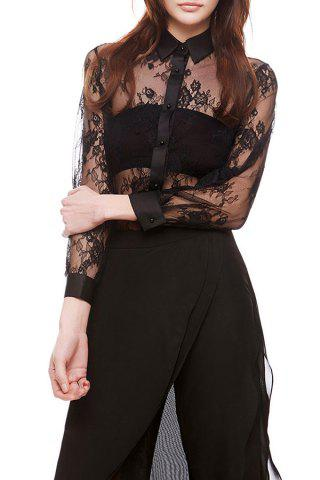 Outfits Lace See Through Floral Shirt