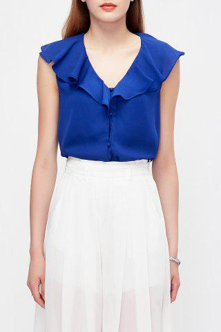 Store Solid Color Ruffles Blouse