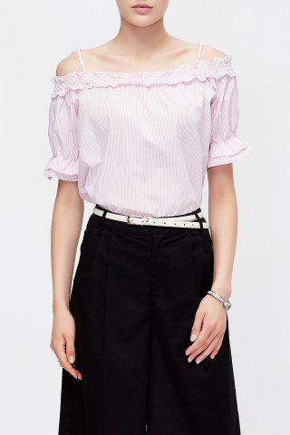 Trendy Pinstriped Cold Shoulder Blouse