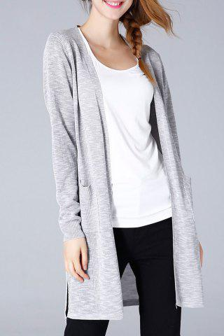 Outfits Collarless Longline Slit Cardigan