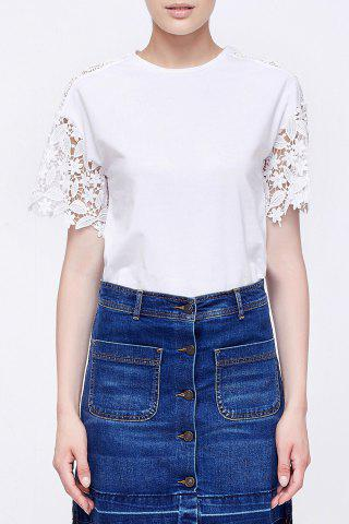 Outfits Lace Splicing Cotton T-Shirt