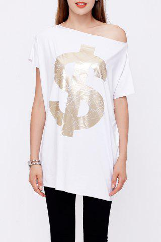 Trendy One-Shoulder Loose Letter Print T-Shirt