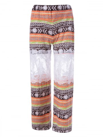 Hot Fashionable Printed Lace Stitching Palazzo Pants COLORMIX L