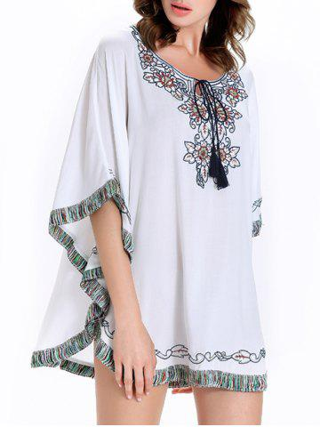 Buy Stylish Batwing Sleeve Tassel Floral Embroidered Tunic Dress - L WHITE Mobile