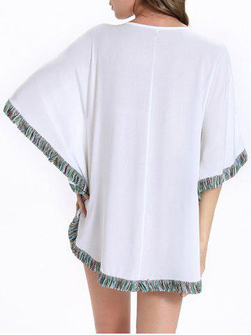 Chic Stylish Batwing Sleeve Tassel Floral Embroidered Tunic Dress - M WHITE Mobile