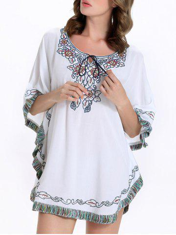 Buy Stylish Batwing Sleeve Tassel Floral Embroidered Tunic Dress - M WHITE Mobile