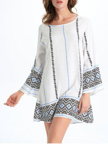 Fancy Stylish Geometric Print Women's Shift Dress - XL WHITE Mobile
