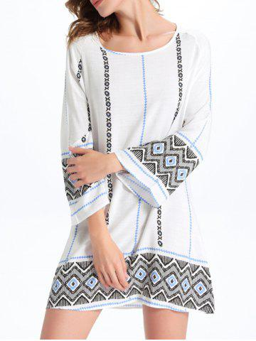 Latest Stylish Geometric Print Women's Shift Dress - XL WHITE Mobile