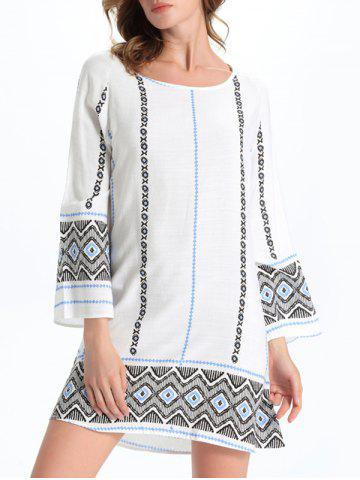 Fashion Stylish Geometric Print Women's Shift Dress - M WHITE Mobile